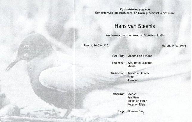 Rouwkaart Hans van Steenis binnenzijde